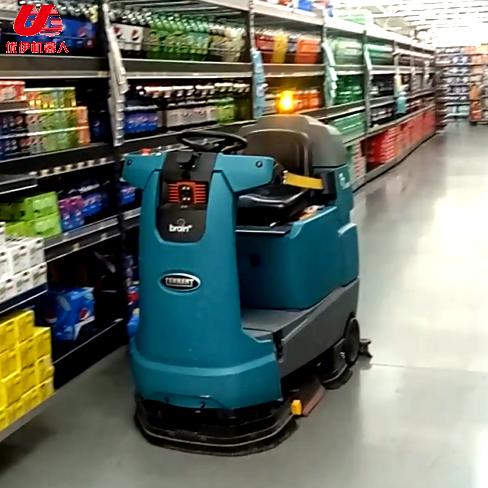 國外沃爾瑪超市無人駕駛掃地機器人視頻