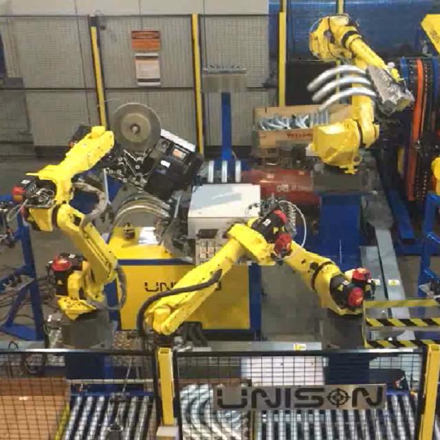 彎管機粗管三管并做機器人自動線